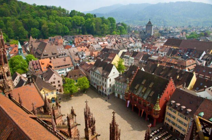 Altstadt von Freiberg aus der Vogelperspektive