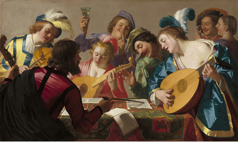 "painting: ""The Concert"" by Geriet van Honthorst (1623), singing and drinking musicians"